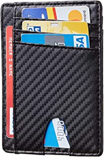 Card Holder for Men, Reayouth RFID Blocking Wallet Slim Wallet Front Pocket Security Travel Credit Card Holder (Carbon Fibre), Holds up to 7 Cards and Bank Notes(Black)