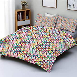 Duplex Print Duvet Cover Set Queen Size,Fidget Spinner Shaped Abstract Rainbow Colored Image Geometric Ornamental Pattern DecorativeDecorative 3 Piece Bedding Set with 2 Pillow Sham,Multicolor,Best Gi