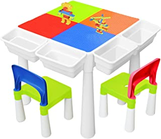 YMINA 6 in 1 Multi Kids Activity Play Table Set Building Block Table with 2 Chairs 300 PCS Large Playset Compatible Buildi...