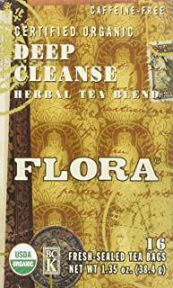 Flora Organic Detox Deep Cleanse Tea 16 Teabags - Non GMO & Caffeine Free - Natural & Gentle Body Detoxification