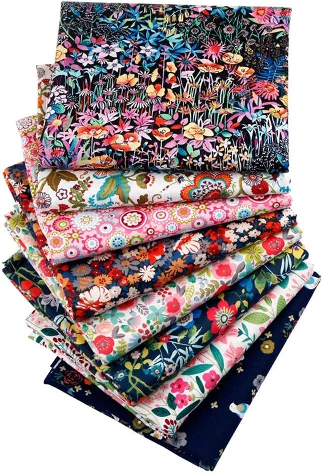 Hanjunzhao Little Bird Floral Fat Quarters Fabric Bundles 18x22 inch for Quilting Sewing Crafting
