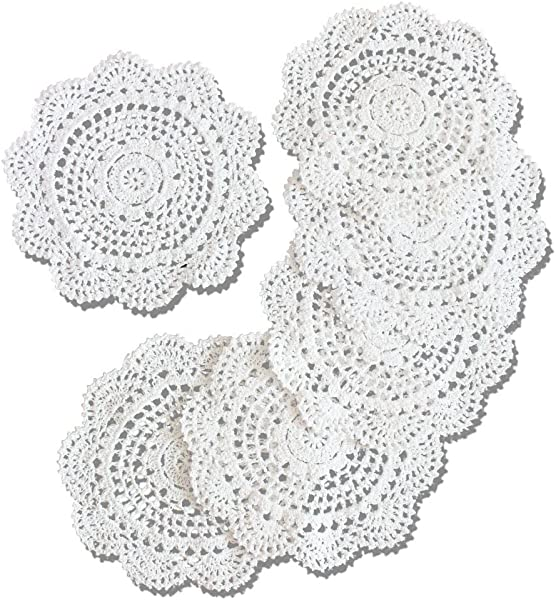 KEPSWET Pack Of 6PCS White 8 Round Crochet Lace Coasters Cotton Handmade Pack Set