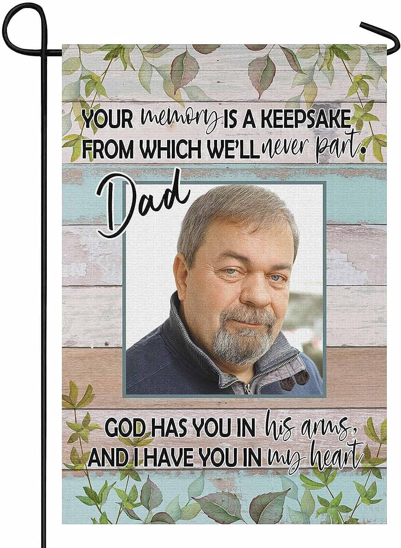 YesCustom Personalized Photo Dad Memorial Garden Flag 12.5