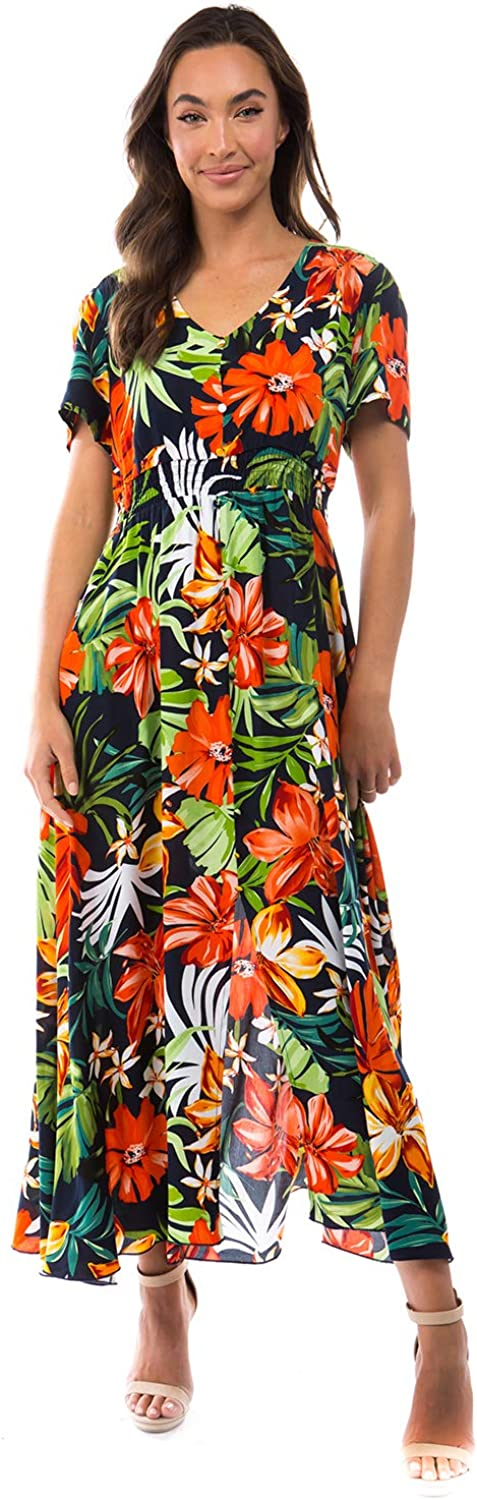 MIAMINE Women V-Neck Casual Floral Button Slit Up Pockets Limited price sale Sale special price Print