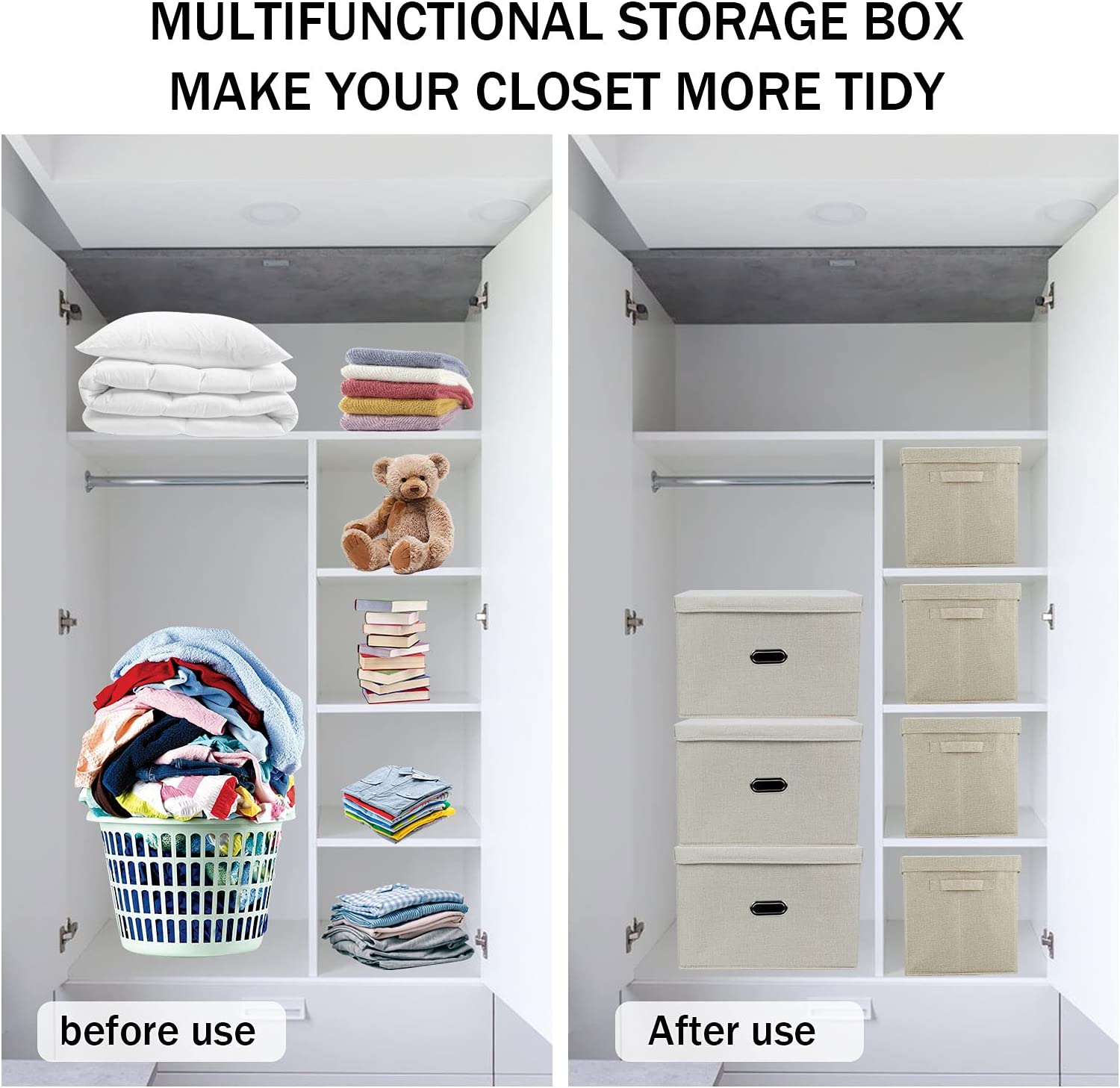 Collapsible Storage Bin Clothes Organizer   Linen Fabric Storage  Containers, Stackable Storage Bins with Lids , Large Capacity Storage Box  for Home ...