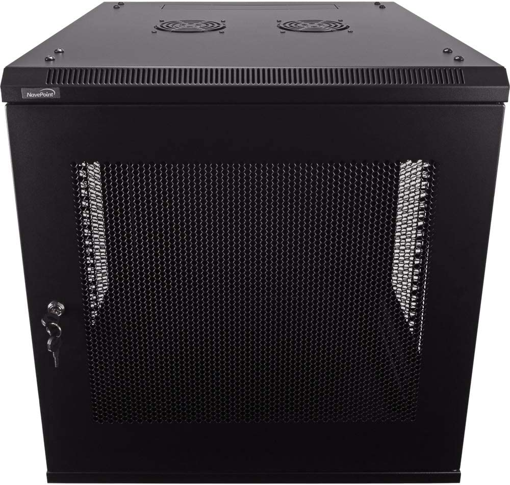 NavePoint 12U Deluxe IT Wallmount Cabinet Enclosure 19-Inch Server Network Rack with Locking Perforated Door 24-Inches Deep Black