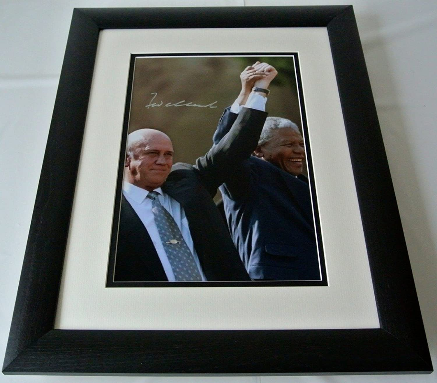 Sportagraphs FW de Klerk SIGNED FRAMED Photo Autograph 16x12 LARGE display South Africa & COA perfect gift