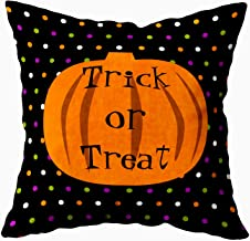 EMMTEEY Home Decor Throw Pillowcase for Sofa Cushion Cover,Trick or Treat Halloween Pumpkins Outdoor Decorative Square Accent Zippered and Double Sided Printing Pillow Case Covers 20X20Inch