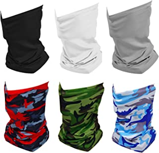 6 Pack Summer Neck Bandana UV Sun Protection, Unisex Elastic Neck Gaiter Face Shield Mask Breathable Cooling Face Scarf Cover for Fishing Hunting