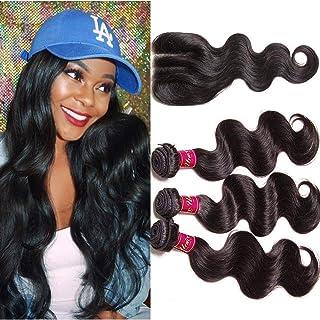 UNice Hair Icenu Series 3 Way Part 1pc 4x4 Lace Closure with Virgin Brazilian Human Hair 3 Bundles Weaves 4pcs Lot Body Wa...