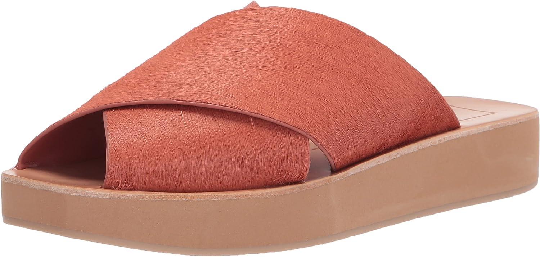 Dolce Vita Women's Capri Slide Sandal, RUST CALF HAIR, 10