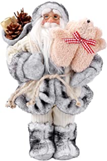 BeHeSo 12.5 inches Santa Claus Traditional Christmas Standing Figure Xmas Decoration Ornament Doll Holiday Decoration