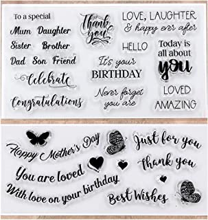 Kwan Crafts 2 Sheets Different Style Words Happy Mother's Day Just for you Birthday Congratulations Clear Stamps for Card Making Decoration and DIY Scrapbooking