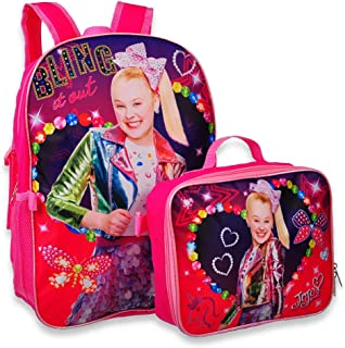 """JoJo Siwa 16/"""" Pink Glitter 2 Zipper Backpack Plus Hair Bow"""
