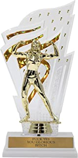 FCK Yes You Glorious Btch Woman Trophy Feminist Feminism in Gold with Woman Bodybuilder Bodybuilding Fitness
