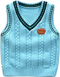 2a6e46bc7d720 Happy childhood Baby Toddler Boys Solid Color V Neck Sweater Vest  Sleeveless Pullover Knitted Waistcoat