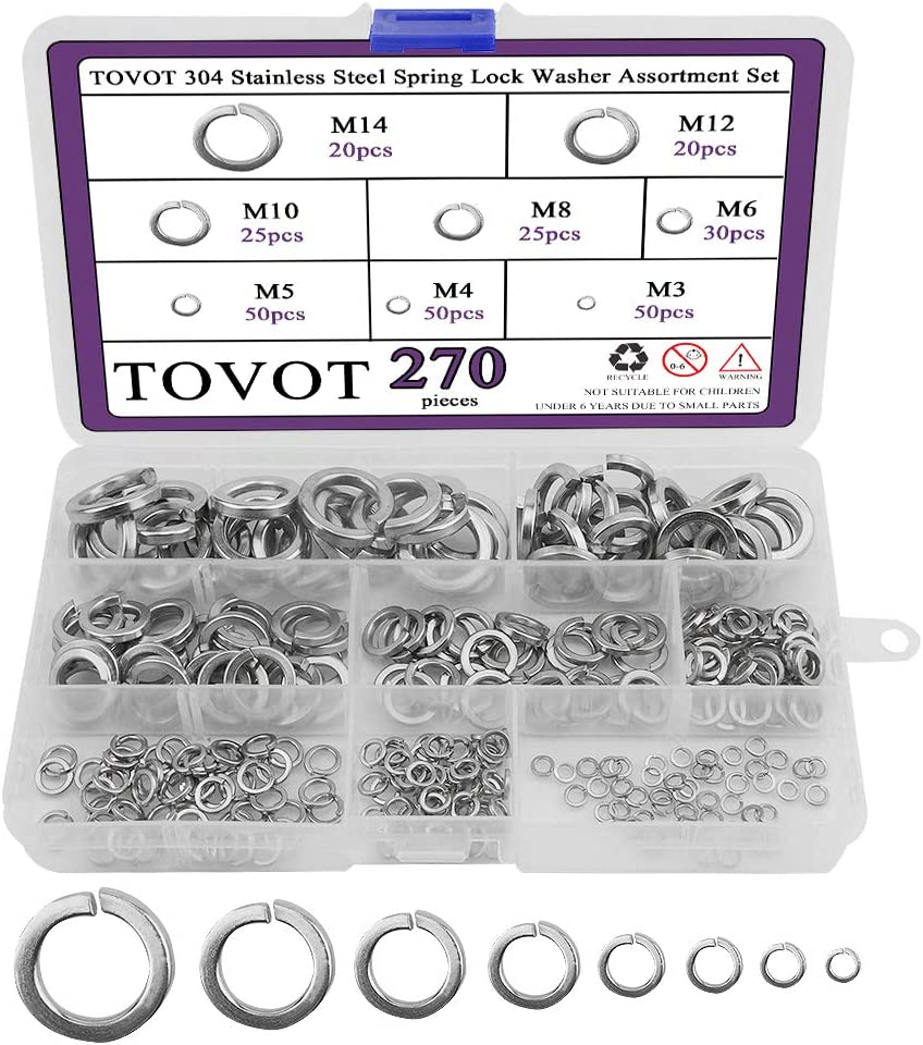 Max 86% OFF TOVOT 304 Stainless Steel Spring Si Atlanta Mall Set-8 Washer Assortment Lock