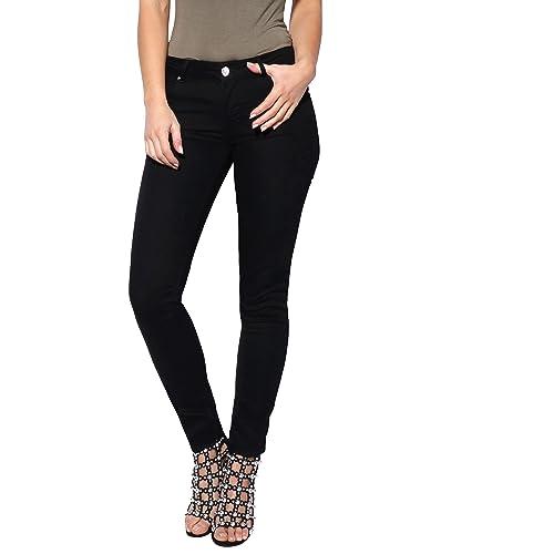 2cdc3535cb KRISP® Women Denim Cotton Jeans Casual Stretch Skinny Winter Pants Red