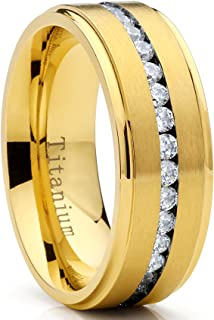 Metal Masters Co. Goldtone Titanium Men's Eternity Wedding Band Ring with Cubic Zirconia CZ, Comfort Fit 8mm