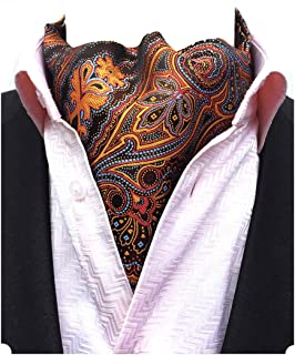 Men's Blue Paisley Jacquard Woven Silk Cravat Necktie Scarf Formal Ascot