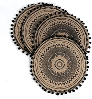 Lahome Mandala Print Round Placemat - Farmhouse Jute Table Mats with Pompom Tassel 11.8 Inch Place Mat for Dining Room Kitchen Table Decor (Set of 4, Black)