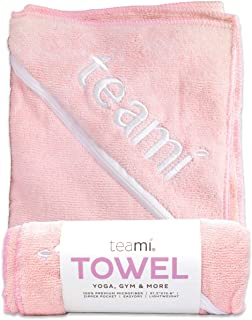 Teami Quick Dry Microfiber Towel - Super Absorbent and Ultra Compact, Lightweight Antimicrobial Towels Best for Sports, Yoga, Travel, Camping, Gym, Beach, Swimming, and Backpacking (Pink)