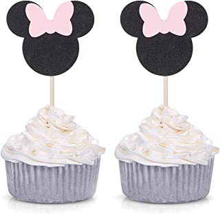 Pack of 24 Pink and Black Minie Mouse Inspired Cupcake Toppers for Baby Shower Girl's Birthday Party Decorations