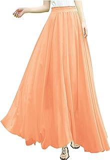 ad95844cf9be4 v28 Women Full Ankle Length Elastic Pleated Retro Maxi Chiffon Long Skirt