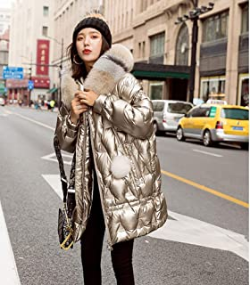 Women's Thickened Down Jacket Faux Fur Hooded Waistcoat Outerwear Jacket Coat Winter Warm Lightweight Quilted Casual Sport Outdoor Hoodie Coats,Gold,S