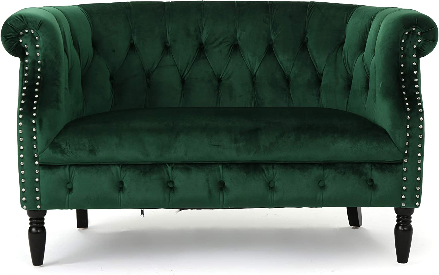Melaina Tufted Chesterfield Velvet Loveseat with Scrolled Arms, Emerald and Dark Brown