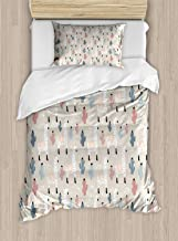 Ambesonne Llama Duvet Cover Set, Pattern with South American Animal Guanaco Cactus and Hand Drawn Childish Elements, Decorative 2 Piece Bedding Set with 1 Pillow Sham, Twin Size, Beige Coral