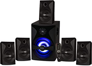 Best Acoustic Audio by Goldwood Bluetooth 5.1 Surround Sound System with LED Light Display, FM Tuner, USB and SD Card Inputs - 6-Piece Home Theater Speaker Set, Includes Remote Control - AA5400 Black Review