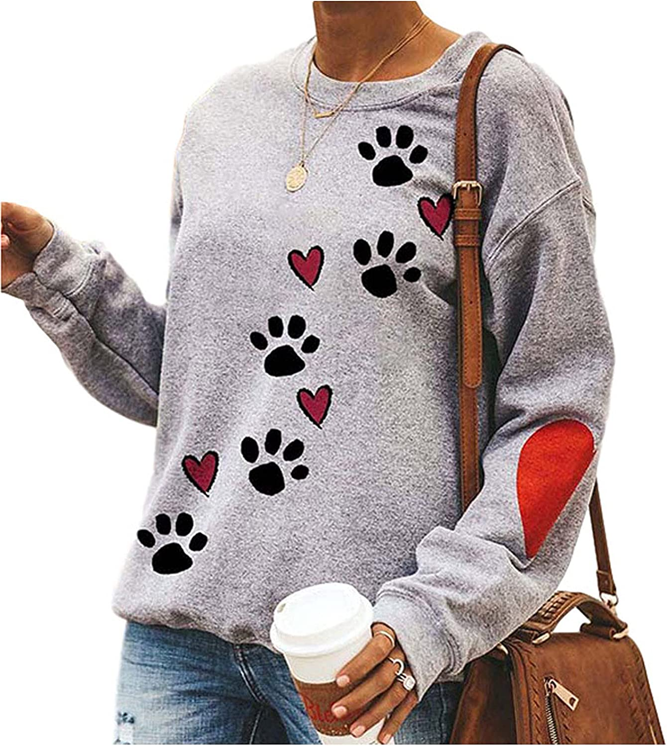 Women Long Sleeve Dog Paw Printed O-Neck Sweater Autumn Loose Cute Easy Pullover Sweatshirt Casual Tops