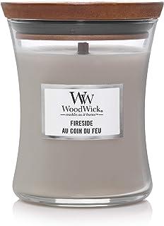 WoodWick bougie parfumée moyenne en jarre avec mèche qui crépite, Au coin du feu, Temps de combustion jusqu'à 60 heures