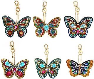 Matefield DIY Diamond Painting Keychain 6pcs Butterfly 5D Keyrings Special Shape Diamond Painting Pendant for Art Craft Key Ring Phone Charm Bag Decor