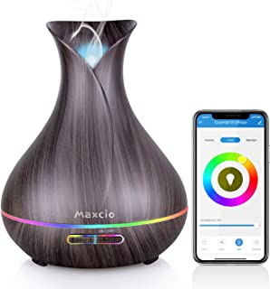Alexa Difusor Aromaterapia WiFi, Maxcio Humidificador Ultrasónico Aceites Esenciales 400ml 7-Color LED 2 Modos de Nieble Controlable por Vía Wifi y Voz Compatible Con Amazon Alexa y Google Home