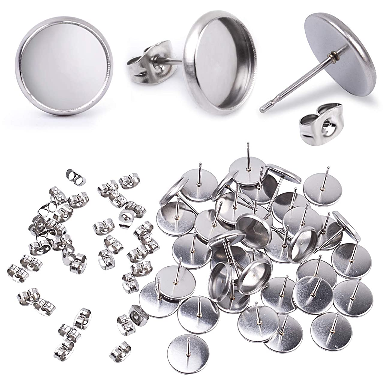 Jdesun 40 Pieces Stainless Steel Stud Earring Cabochon Setting Post Cup for 10mm and 40 Pieces Earring Safety Backs
