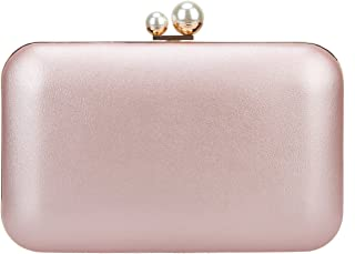 Bonjanvye Evening Bags and Clutch Purses for Women Double Pearl Bright Leather Clutches
