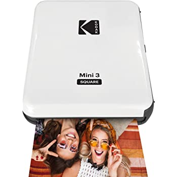 Kodak All-New Mini 3 Square Instagram Size Bluetooth Portable Photo Printer with 4PASS Technology - White