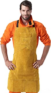 Leather Welding Apron Heat & Flame-Resistant Heavy Duty Work Aprons for Woodcarvers Woodworkers Chasers Gunsmith Bladesmith