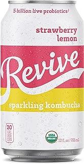 Revive Sparkling Kombucha (Strawberry Lemon, 12-Pack)