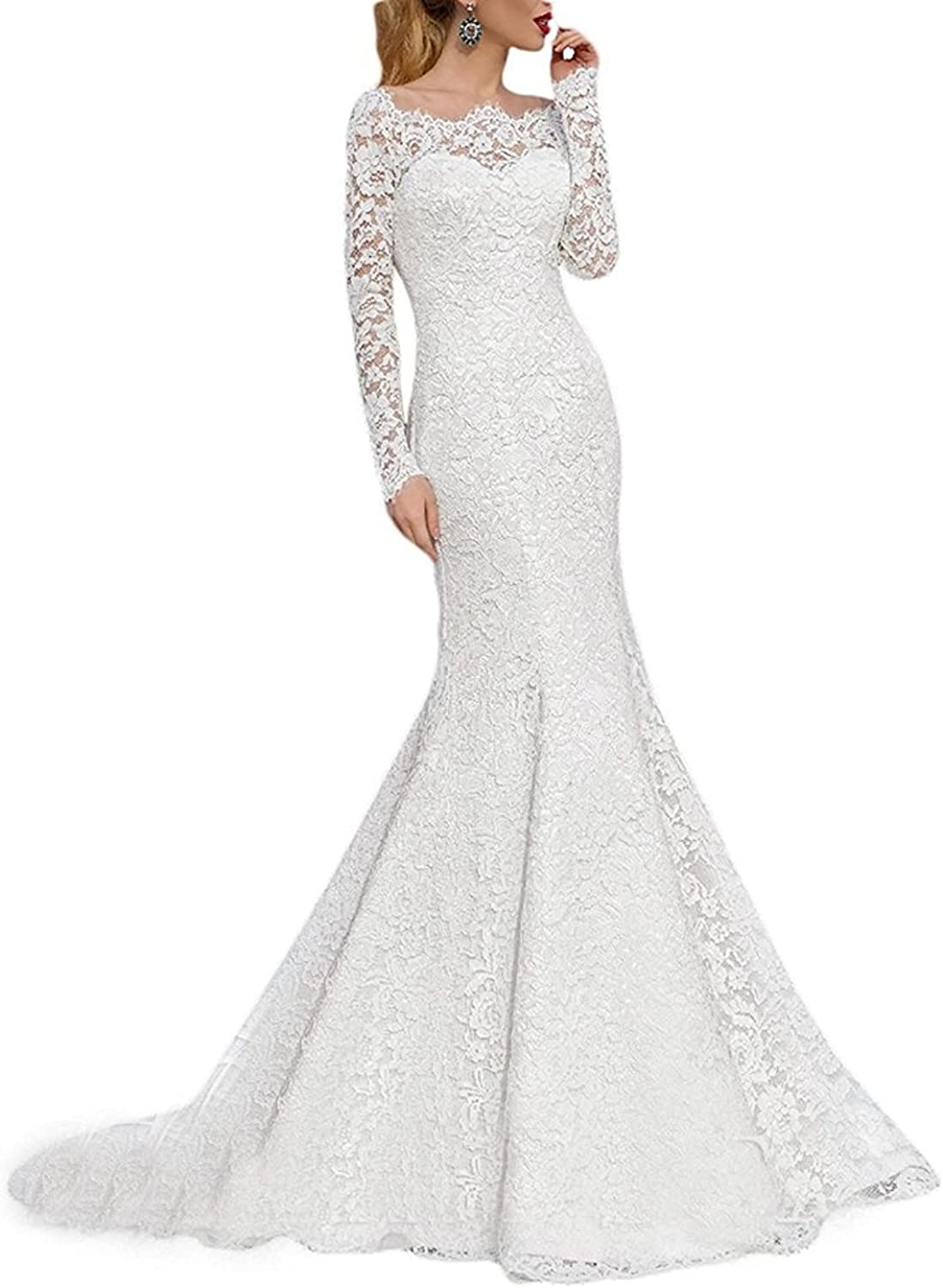 JoyVany Women's Full Lace Mermaid Wedding Dress 2019 Long Bridal Gown for Bride with Sleeve JW018