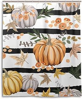 Woohur Autumn Orange Pumpkins Thanksgiving Day Shower Curtain Set with 12 Hooks Waterproof Cloth Fabric Bathroom Shower Curtain Liner Decor Accessories Size 60