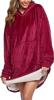 iClosam Coperta Donna con Cappuccio Felpa Oversize Blanket Hoddie Pullover Confortevole Unisex Adulti, Uomini, Ragazzi E B...