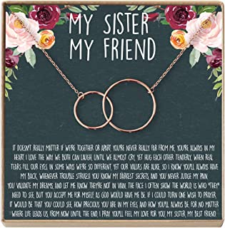 Sisters Necklace: Sister Gift, Gift for Sister, Sister Birthday Gift, Secrets, 2 Interlocking Circles