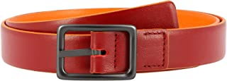 DUDU Cintura da Donna in Vera Pelle Made in Italy Bicolore Accorciabile H 24mm con Fibbia in Metallo Rosso da 100 cm