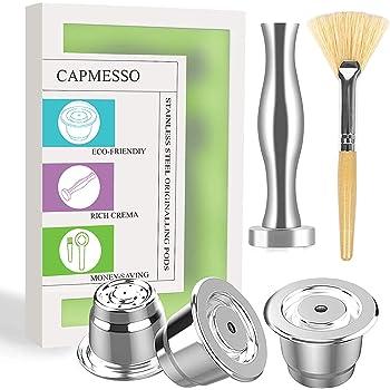 CAPMESSO Cápsula de café reutilizables, Cápsula rellenables para espresso, Cápsula de acero inoxidable compatibles con las máquinas de la línea original de Nespresso-conjunto de 3 vainas