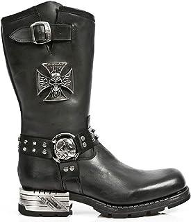 New Rock MR030-S1 Boots Couleur Noir pour Femmes Cuir Naturel Style Western Cowboy Rock Motard