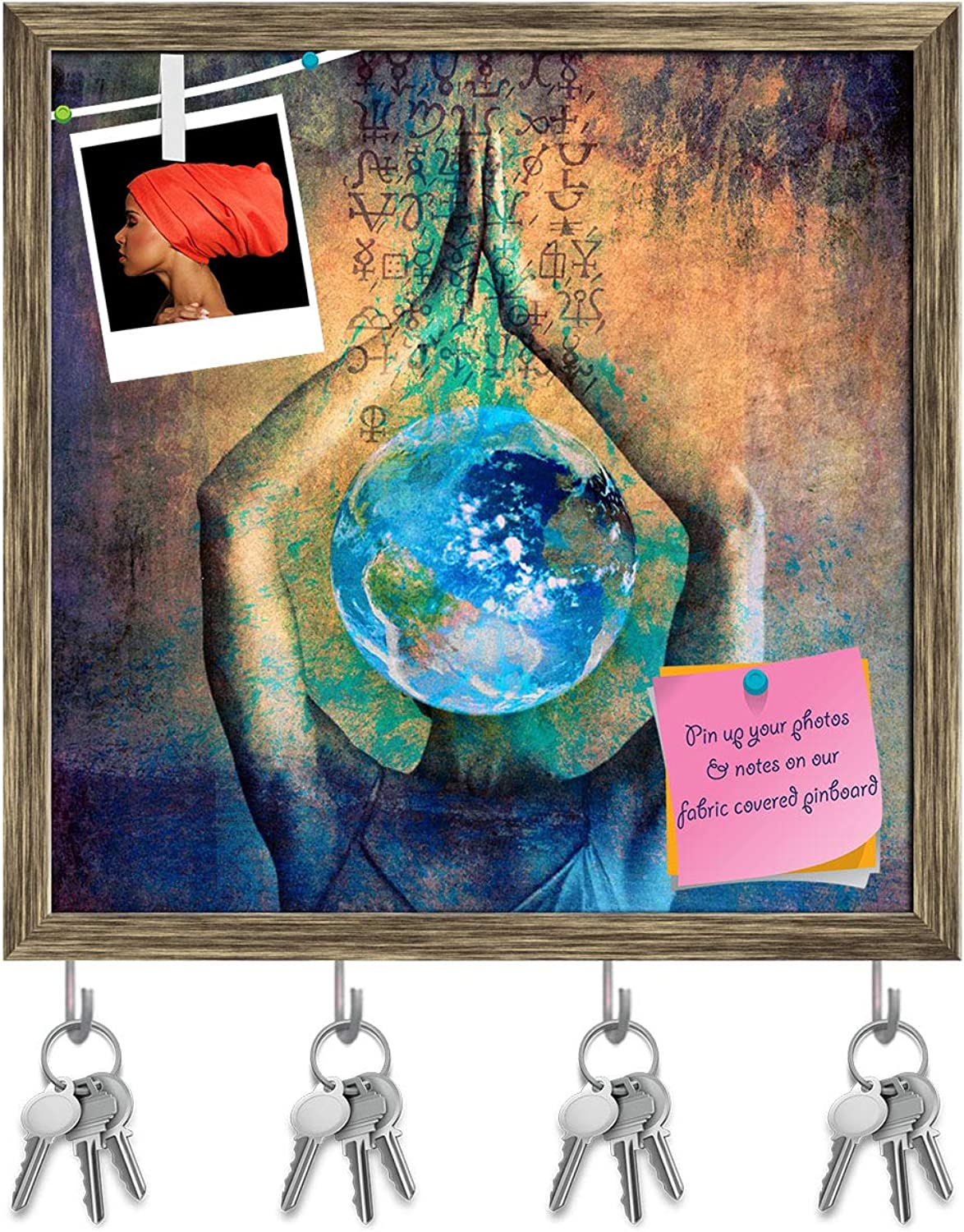 Artzfolio Female Earth Ilustration with Alchemical Signs Key Holder Hooks   Notice Pin Board   Antique golden Frame 20 X 20Inch