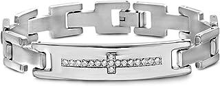 Steve Madden Stainless Steel Cubic Zirconia Cross ID Bracelet for Men